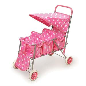 Badger Basket Triple Doll Stroller, Pink Polka Dots, Fits Most 18 Dolls  My Life As