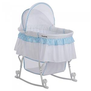 Dream On Me Lacy Portable 2-in-1 Bassinet And Cradle, Blue/White