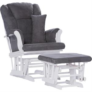 Rental Storkcraft Tuscany Glider and Ottoman with Lumbar Pillow, White Finish, Choose Your Cushion Color