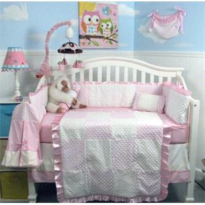 New Pink Minky Dot Chenille Baby Crib Nursery Bedding Set