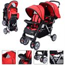 Double strollers Foldable Twin Baby Double Stroller Kids Jogger Travel Infant Pushchair Red
